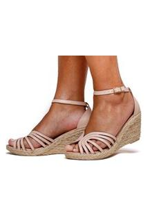 Sandália Anabela Plataforma Sb Shoes Ref.1275 Nude