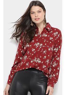 Camisa Social Facinelli Floral Feminina - Feminino-Vinho
