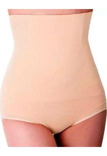 Calça Cinta Modeladora Corporal Slim Redutor De Medidas Cintura - Feminino-Bege