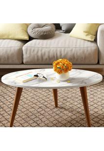 Mesa Oval Retrô – Be Mobiliário - Branco / Carrara