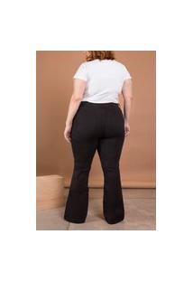 Calça Jeans Flare Cintura Média Plus Size Preto