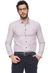Camisa Calvin Klein Jeans Slim Listrada Branca