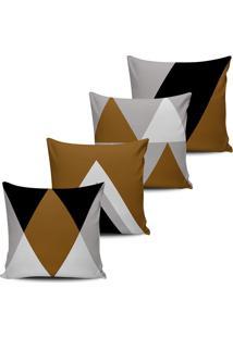 Kit 4 Capas Almofadas Geometrica Marrom E Preto 45X45Cm - Tricae