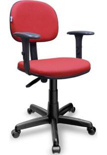 Cadeira Secretária Giratória Jserrano Vermelho Com Braço Digitador Ajustável