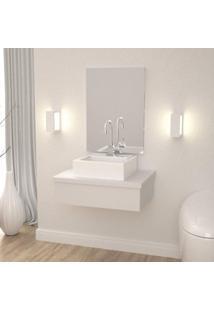 Conjunto Para Banheiro Gabinete Com Cuba Q35 600W Metrópole Compace Branco Chess