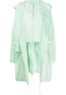 Colville Long Button Up Drawstring Raincoat - Verde