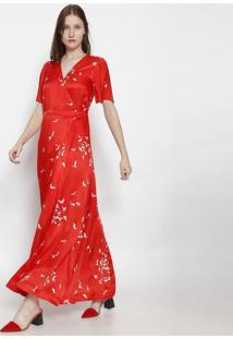 Vestido Longo Garã§As Com Seda - Vermelho & Off Whiteosklen