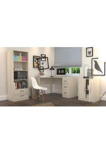 Conjunto Escritório Office Plus Appunto 3 Peças: Armário Com Gavetas, Escrivaninha Em L Com 3 Gavetas E Balcão - Grigio - Multistock