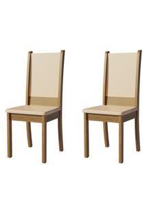 Kit 2 Cadeiras 4232 Madesa - Rustic/Crema Marrom