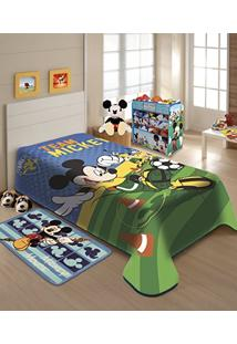 14512e10ec ... Cobertor Raschel Juvenil Disney Mickey Futebol