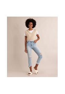 Calça Cropped Jeans Cintura Super Alta Destroyed Sawary Azul Claro