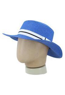 Chapéu Feminino De Palha Chapéu Feminino De Palha Azul