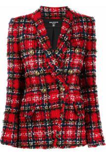 Balmain Tartan Tweed Double-Breasted Blazer - Vermelho