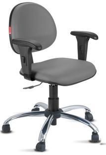Cadeira Escritório Cinza Escuro Cromada Com Braços