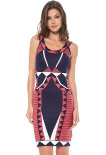 Vestido Enfim Curto Tricot Azul-Marinho/Vermelho
