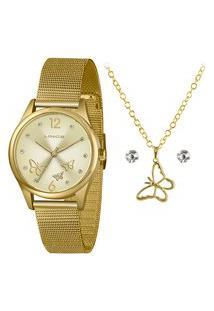 Kit Relógio Lince Feminino Funny Analógico Dourado Lrgj105L-Kx40C2Kx