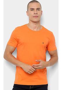 Camiseta Tommy Hilfiger Básica Masculina - Masculino-Laranja