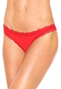 Calcinha Calvin Klein Underwear Fio Dental Microfibra Vermelha