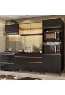 Cozinha Completa Madesa Reims Xa260001 Com Armário E Balcão - Preto/Rustic