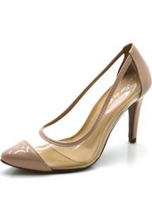 Sapato Scarpin Salto Alto Fino Em Verniz Com Transparência - Kanui