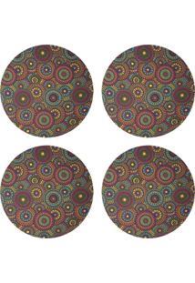 Kit 4Pçs D'Rossi Sousplat Para Prato Suporte De Mesa Decorativo Mandala Colors 30 Cm