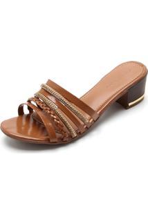 Tamanco Dafiti Shoes Tiras Caramelo