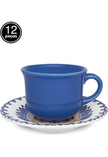 Conjunto 12Pçs Xícaras De Chá Oxford C/Pires Mail Order Floreal La Carreta Azul