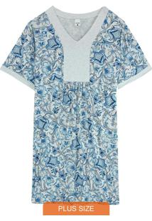 Camisola Azul Arabesco Em Viscose Plus