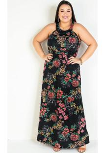 Vestido Longo Floral Com Elástico Plus Size