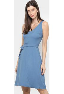 Vestido Mercatto Liso Amarração - Feminino-Azul Claro