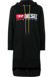 Diesel Vestido Moletom Com Logo - Preto