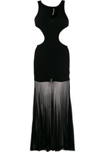 Christopher Kane Vestido Canelado Com Vazados - Preto