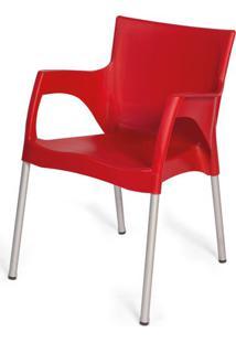 Cadeira Atenas Em Polipropileno Vermelho Com Pes Aluminio - 48000 - Sun House