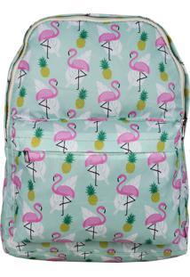Mochila Lenna'S Flamingo-Abacaxi Verde