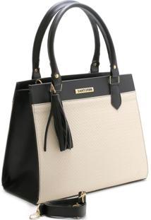 Bolsa Bicolor Santorini Handbag Tricê Preto/Creme