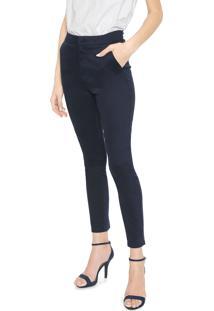 Calça Calvin Klein Slim Cropped Alfaiataria Azul-Marinho