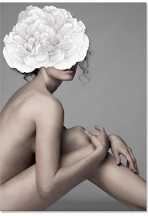 Quadro 60X90Cm Canvas Joana Mulher Com Flor Branca Nórdico