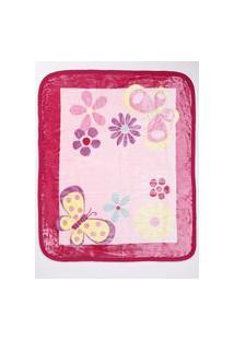 Cobertor Corttex Infantil Para Bebê - Rosa/Pink