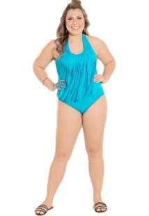 Maiô Quintess Plus Size Franjas Azul