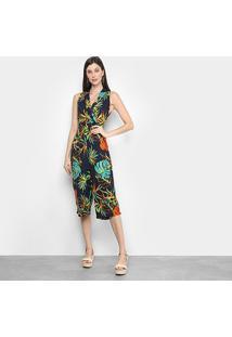 Macacão Lily Fashion Pantacourt Tropical Feminino - Feminino-Marinho