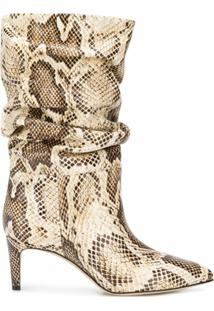 Paris Texas Ankle Boot Com Efeito De Pele De Cobra E Salto 65Mm - Neutro