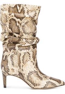 Paris Texas Ankle Boot Com Efeito De Pele De Cobra E Salto 65Mm - Neutro