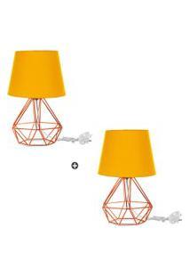 Kit 2 Abajur Diamante Dome Amarelo Com Aramado Cobre