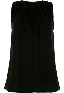Proenza Schouler Blusa De Crepe Texturizado Com Amarração - Black