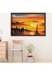 Quadro Love Decor Com Moldura Resplendor Do Sol Madeira Escura Grande