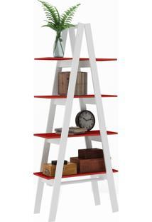 Estante Escada Maior Rt 3048 Branco/Vermelho - Móvel Bento