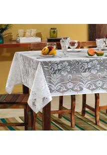 Toalha De Mesa Retangular Realeza Branca (150X210)