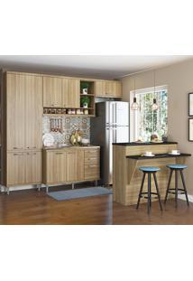 Cozinha Compacta 11 Portas 3 Gavetas Sem Tampo Com Bancada 5845 Argila - Multimóveis