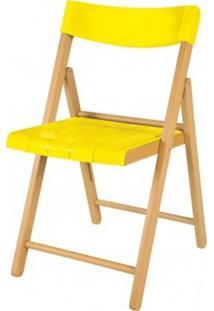 Cadeira Potenza Dobravel Natural Com Plastico Amarelo- 20643