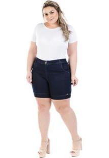 Shorts Feminino Jeans Athos Com Elastano Plus Size - Feminino-Marinho
